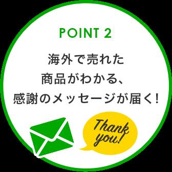 POINT 2 売れSeeエコ活、海外で売れた商品がわかる、感謝のメッセージが届く!