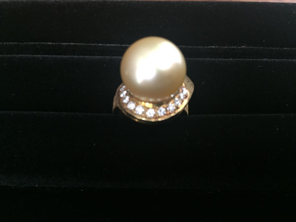K18・ゴールデンパール13mm×メレダイヤのリングを買取|神戸|東灘店