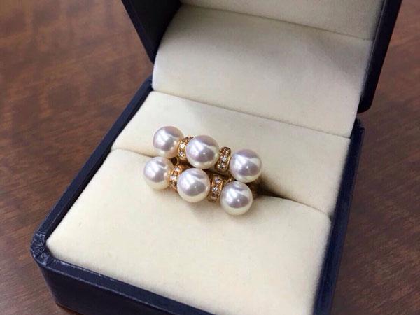 田崎真珠・6Pパール×ダイヤモンドリングを買取|神戸|ラポルテ芦屋店
