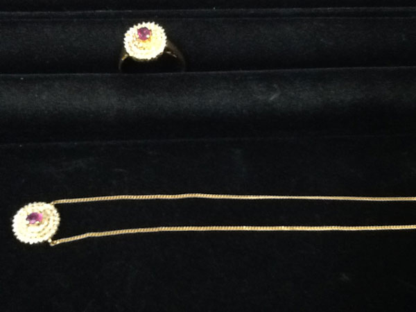 ルビー×ダイヤのネックレス&リングを買取|姫路|広畑店