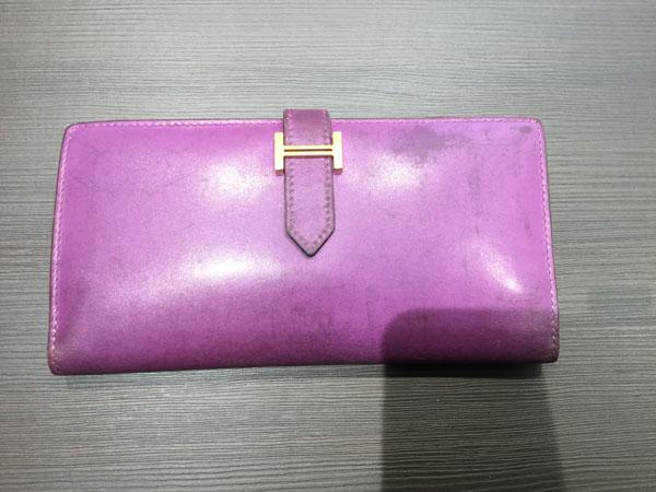 エルメス・ベアン・パープルの財布を買取 大阪 天六店