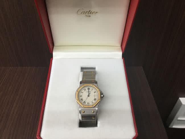 カルティエ・サントスオクタゴン・コンビ・クオーツの腕時計を買取|大阪|茨木店
