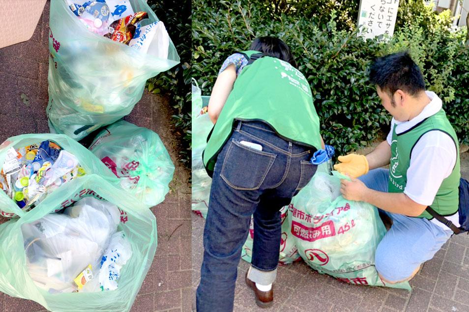 商店街での清掃ボランティア
