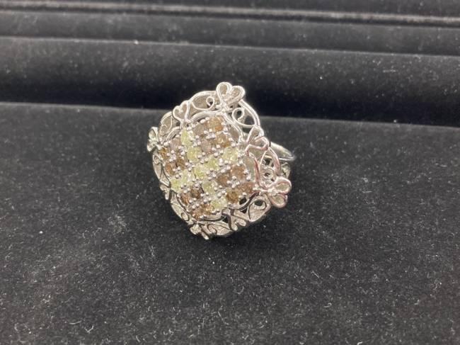 貴金属・K18WG・カラーダイヤ付デザインリングを買取|名古屋|名古屋香流店
