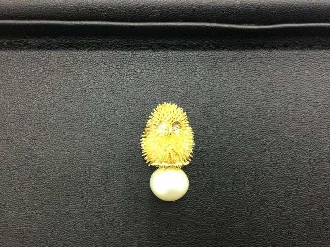 貴金属・k18 フクロウ・真珠・ダイヤ・トップを買取|東京|葛西店