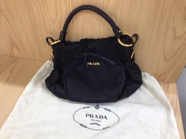 プラダ・ナイロン・レザー編み込みハンドバッグを買取 流山 江戸川台店