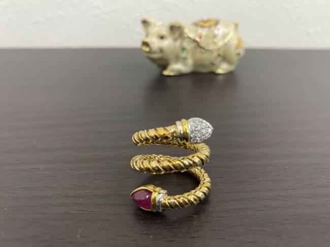 K18・ノーブランド・ダイヤ・ルビー・デザインリングを買取|船橋|船橋店