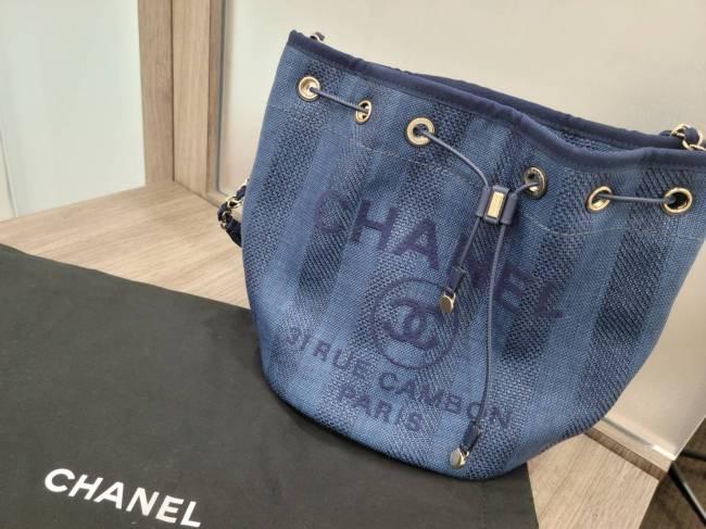 シャネル・ドーヴィルライン・巾着バッグを買取 東京・港区 白金台プラチナ通り店