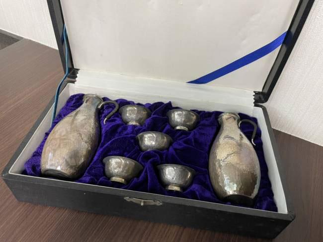 酒器セット・純銀製・銀瓶2点/盃5点を買取|梅田|塚口店